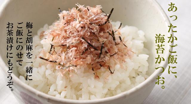 あったかご飯に、海苔かつお。